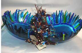Helen Kovac, Sea Basket and Beads, mixed media and glass, 2011 small