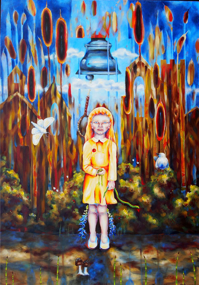 Paula-Scott,-Happy-in-Nature,-Then-the-Church-Bell-Rang,-2006,-oil-on-canvas,-40-x-30-in